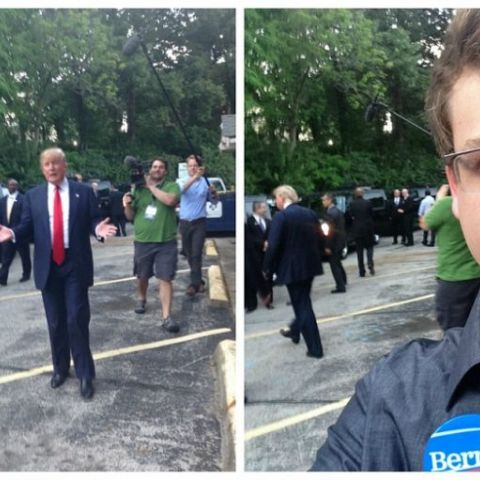 Saw Donald Trump after a rally in Iowa, he came over to take a picture & then left when he saw my Bernie button :)