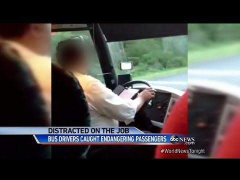 Distracted Bus Drivers Caught on Tape Endangering the Lives of Passengers