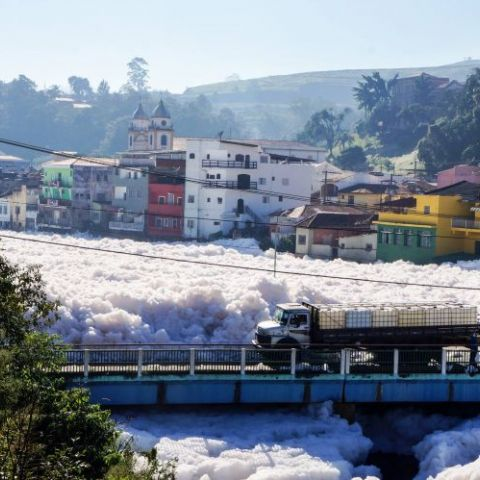 River in São Paulo, Brazil is covered in foam caused by pollution