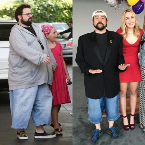 Kevin Smith dropped 85 pounds and tweeted this picture of himself with his daughter from 2008 and from now.