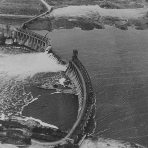 Dnieper Dam after being destroyed by the Soviets during their 'scorched earth' retreat to the east in 1941