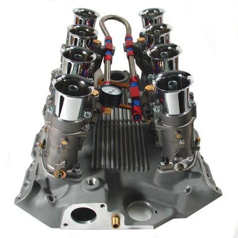 A Weber eight stack manifold for a Ford 427 V8. America's answer to the mechanical fuel injection systems employed by European racing teams, Webers were used on all Ford and Shelby racing cars.