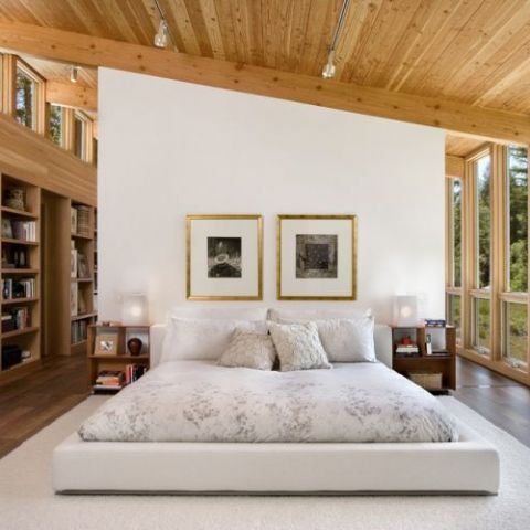 Bedroom in a modern cottage located in Sebastopol, California.