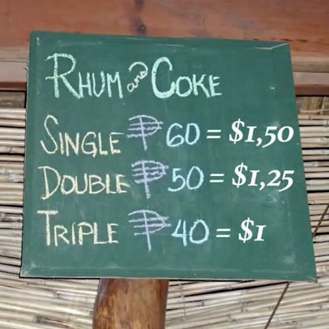 Coke is more expensive than rum in the Philippines, so a triple rum-and-coke is less expensive than a double, which is less expensive than a single.