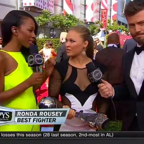 "Upon receiving her ESPY for Best Fighter Ronda Rousey said, ""I wonder how Floyd feels being beat by a woman for once."""