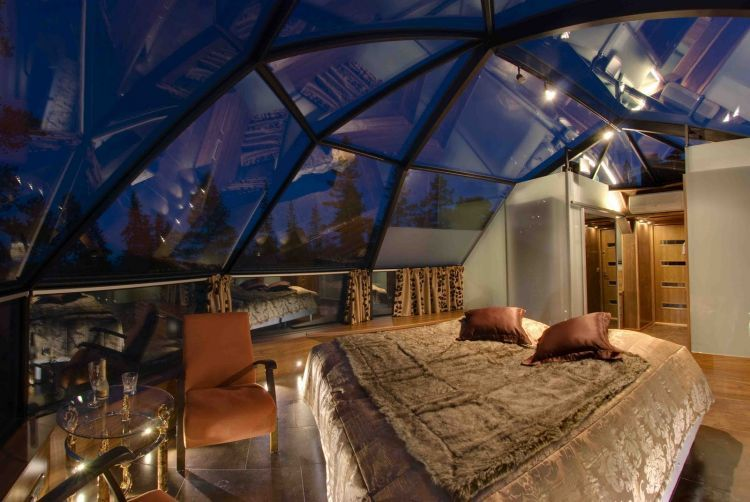Bedroom in partially transparent igloo, Kakslauttanen, Northern Finland