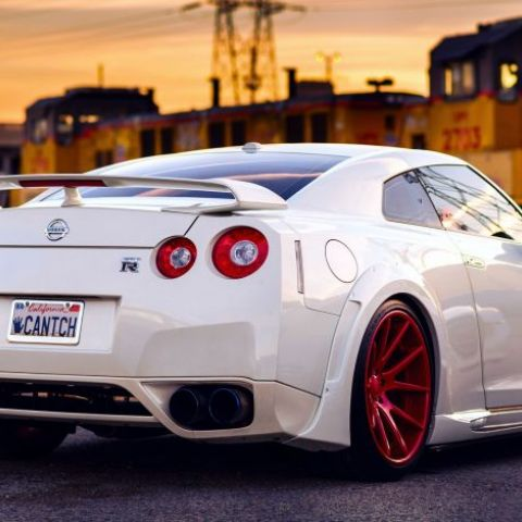 I love white and red together. Nissan GT-R.