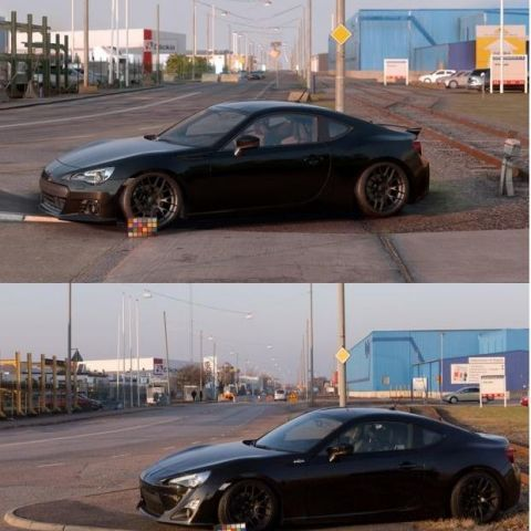 Comparison of the new Need For Speed game (top) and real life (bottom).