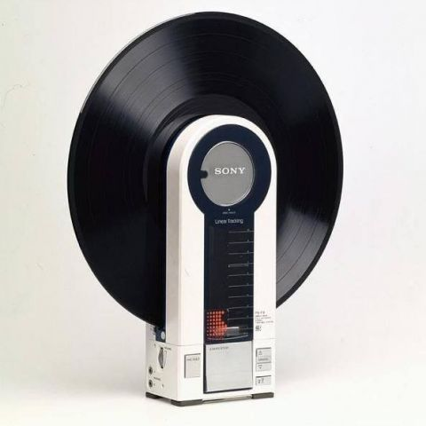 A portable record player made by Sony in 1982
