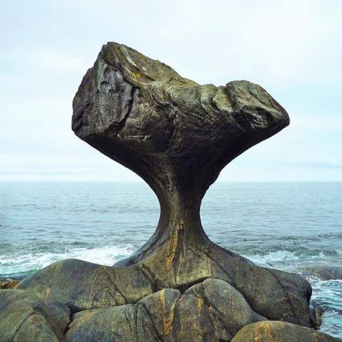 Stone carved by waves