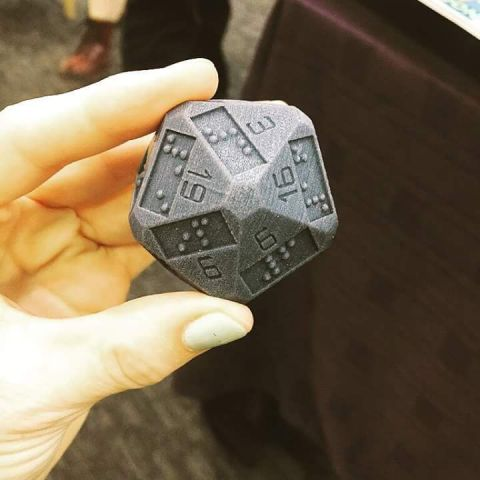 It's a twenty-sided die so blind people can play D&D. I bet their adventures would be amazing.