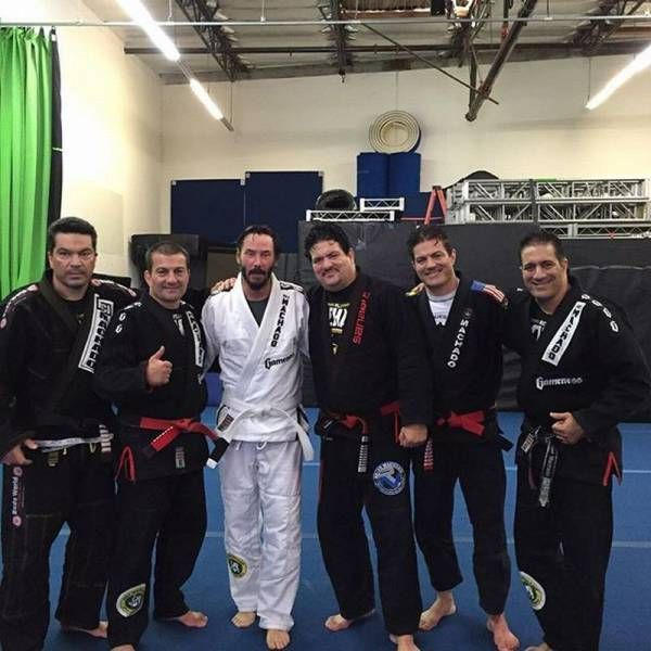 Keanu Reeves in Brazilian Jiu Jitsu training for upcoming John Wick franchise roles. He is the newest celebrity white belt now training with the legendary Machado bros (8-26-15).