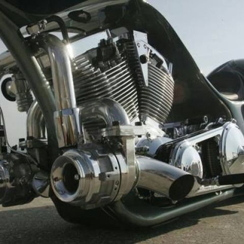 Twin turbo charged V twin motorcycle