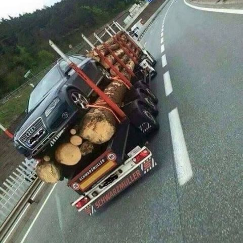 Transporting an Audi down the highway