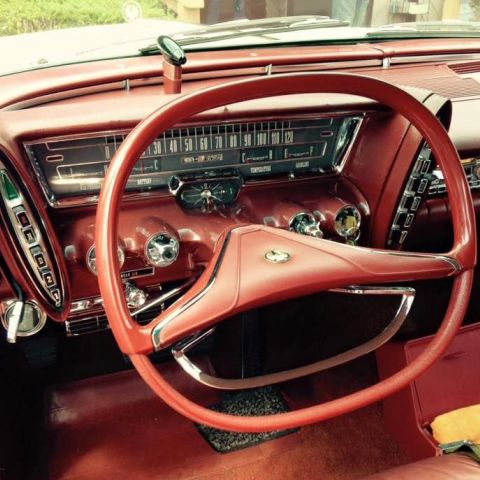 Dashboard of 1963 Chrysler with push-button transmission.