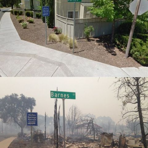 Before and after the 100,000 acre fire in California today