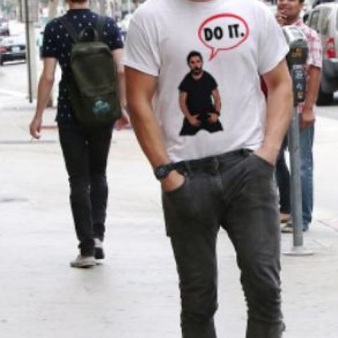 Sad Shia LaBeouf wearing a Shia LaBeouf T-Shirt