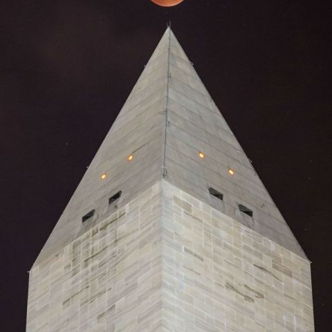 My photo of the Super Blood Moon rising over the Washington Monument
