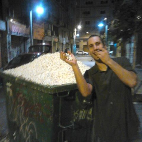 we found a trash bin full of pop corn