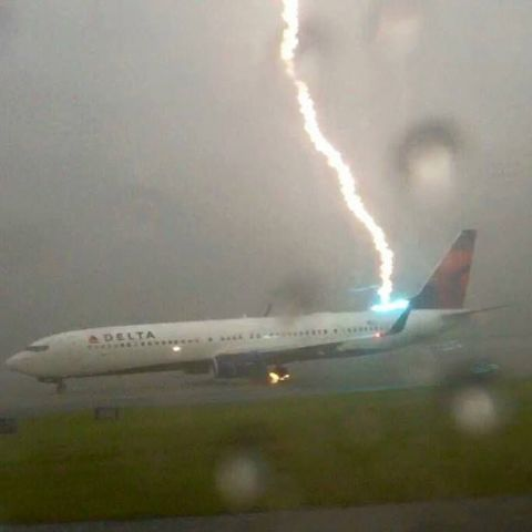 Plane getting struck by lightning