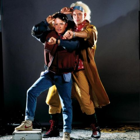 Previously unreleased production photo of Michael J. Fox and Christopher Lloyd posing for the Back to the Future II movie poster.