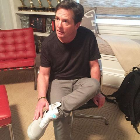 Michael J. Fox wearing first pair of power-lacing Nike Air Mags releasing Spring 2016