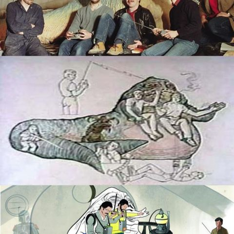 The puppeteers who brought Jabba the Hutt to life in ROTJ and two diagrams of how they did it.
