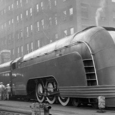 "One of New York Central's ""Mercury"" engines in Chicago, 1936."