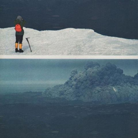 Eruption of Mt. Saint Helens, as seen by climbers on nearby Mt. Adams.