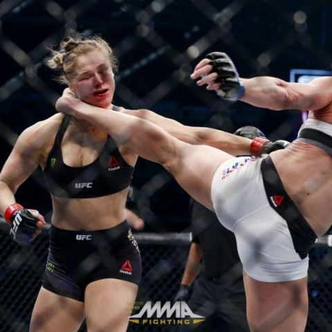 Holly Holm lands headkicks on Ronda Rousey, photo taken by Esther Lin