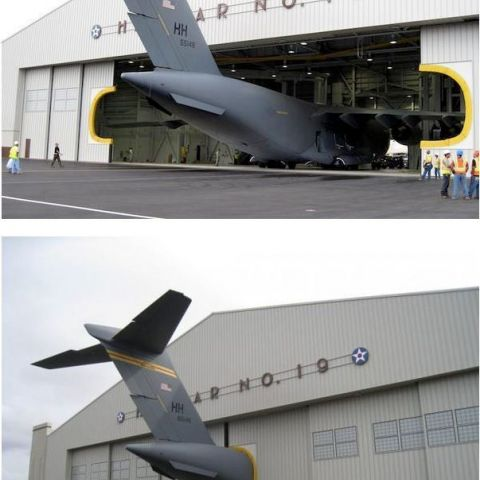 Plane in an undersized hangar