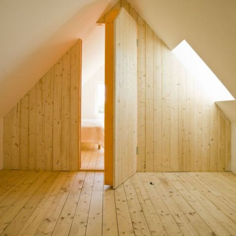 Secret Room in Warm Attic full of Scandinavian Knotty Pine