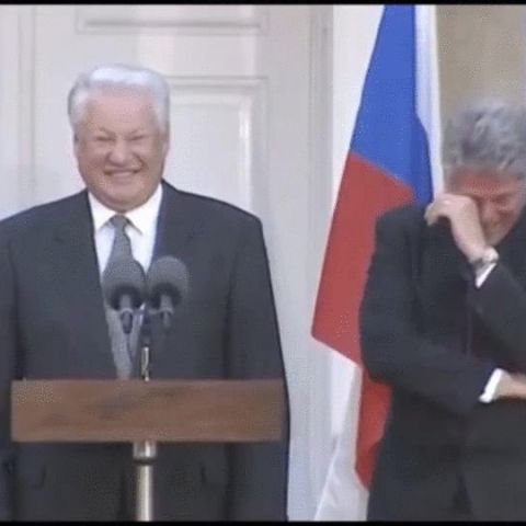 A drunk Boris Yeltsin attempting a speech brings Bill Clinton to tears