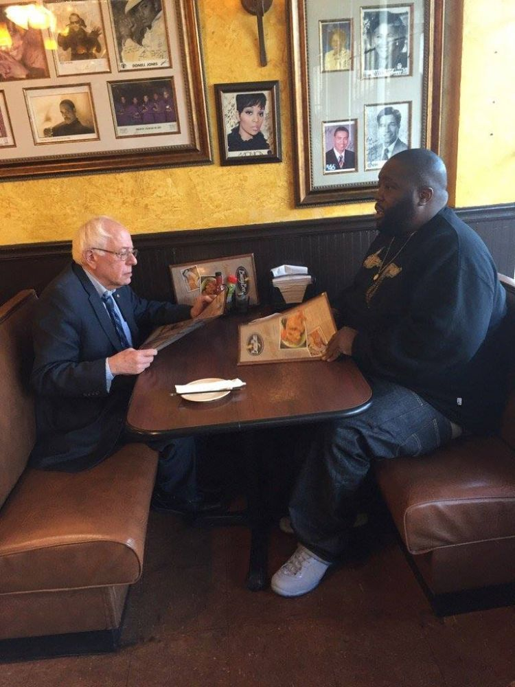 Senator Bernie Sanders and Rapper Killer Mike dining together in Atlanta today