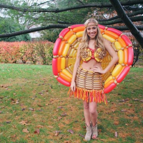 One of my Facebook friends is a balloon artist who makes balloon dresses in her free time. This was the one she made for Thanksgiving.