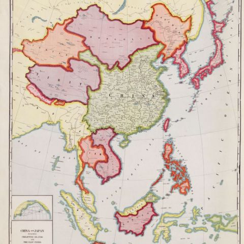 Map featuring countries of the Far East, 1932.