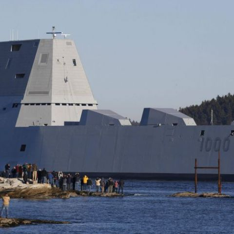The first Zumwalt-class destroyer, Leaving the shipyard in Maine Yesterday.