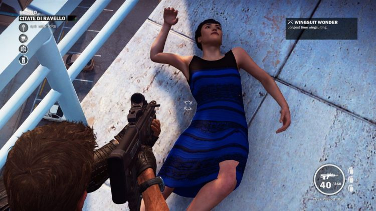 I found a girl wearing that White and Gold Dress in Just Cause 3