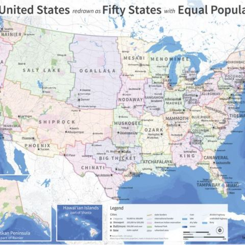 The U.S. Map Redrawn as 50 States With Equal Population