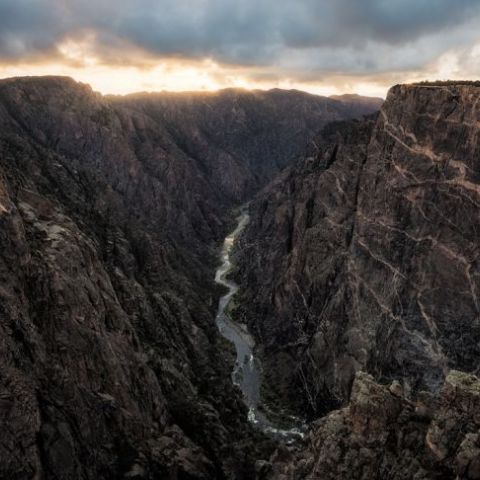 The Black Canyon of the Gunnison in Colorado is so deep and narrow, some parts receive only 33 minutes of light per day. The painted wall on the right is twice the height of the Empire State Building