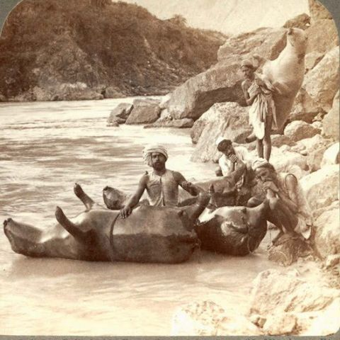 Inflating cow skins to use as boats (Indian Himalayas, 1903)
