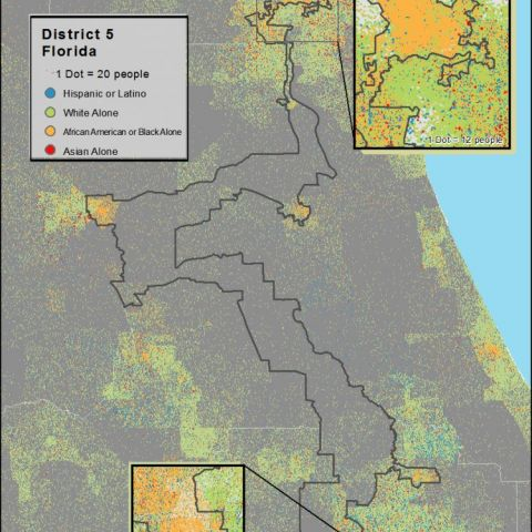 Racial Dot-Density Map of District 5 in Florida, one of the most gerrymandered Congressional Districts in America