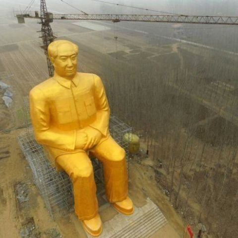 So the Chinese are randomly building a massive Mao Tse-Tung statue out in the middle of nowhere.