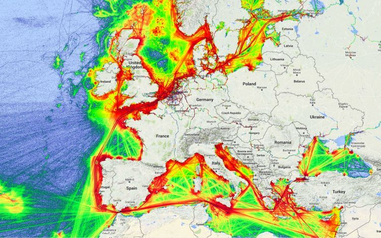 Shipping lanes in Europe, 2014