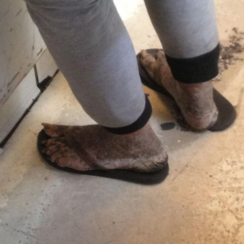 Orc feet at the coffee shop. Suddenly not hungry for that chocolate croissant.
