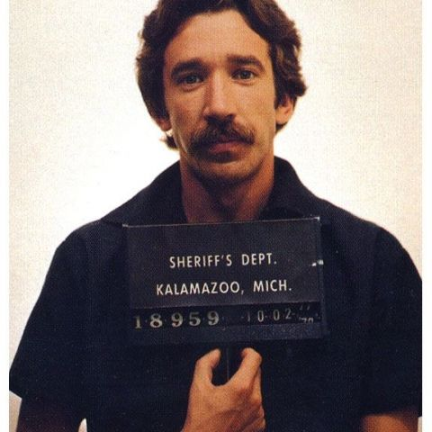 Tim Allen's mugshot after he was arrested in October 1978 while attempting to sell a large amount of cocaine to a Michigan undercover officer