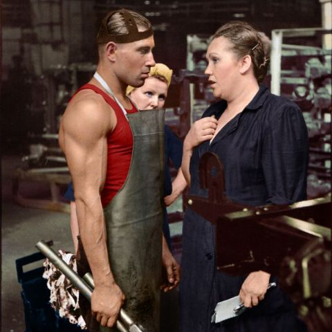 Worker and supervisor, car factory, Moscow, USSR, 1954 (colorized)