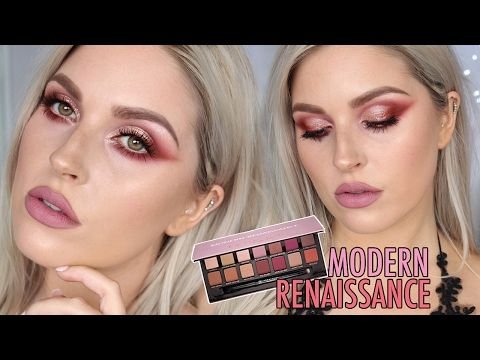 Modern Renaissance Palette Makeup Tutorial! 🌹 WARM RED & METALLIC EYESHADOW 😍