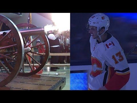 Blue Jackets' cannon scares Johnny Gaudreau